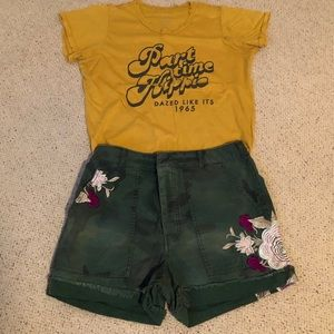 Free People Camo Embroidered Shorts
